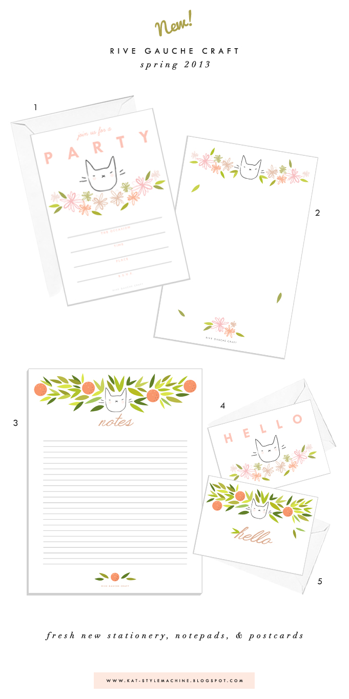 botanical and tropical cat stationery collection for spring and summer