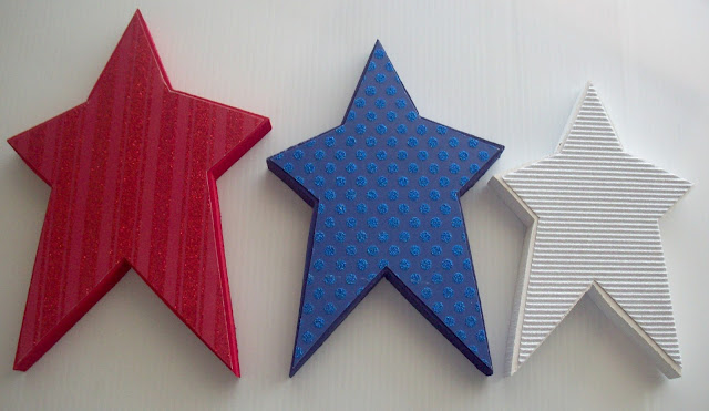 glitter paper on wood stars Red White and Blue Stars