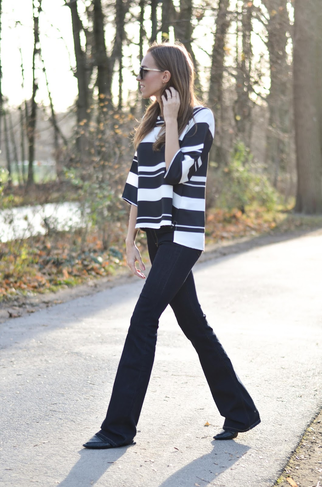 kristjaana mere striped top flare jeans 70s inspired fashion outfit