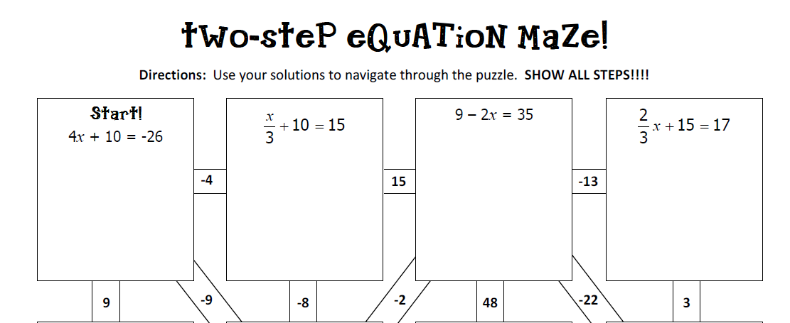 Two Step Equation Worksheets Two Step Equations Color Worksheet