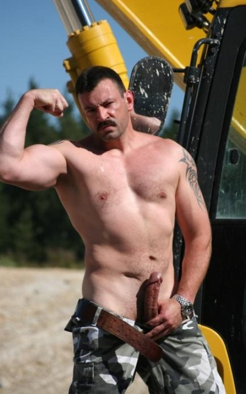 Think, Road construction blue collar men shirtless can not