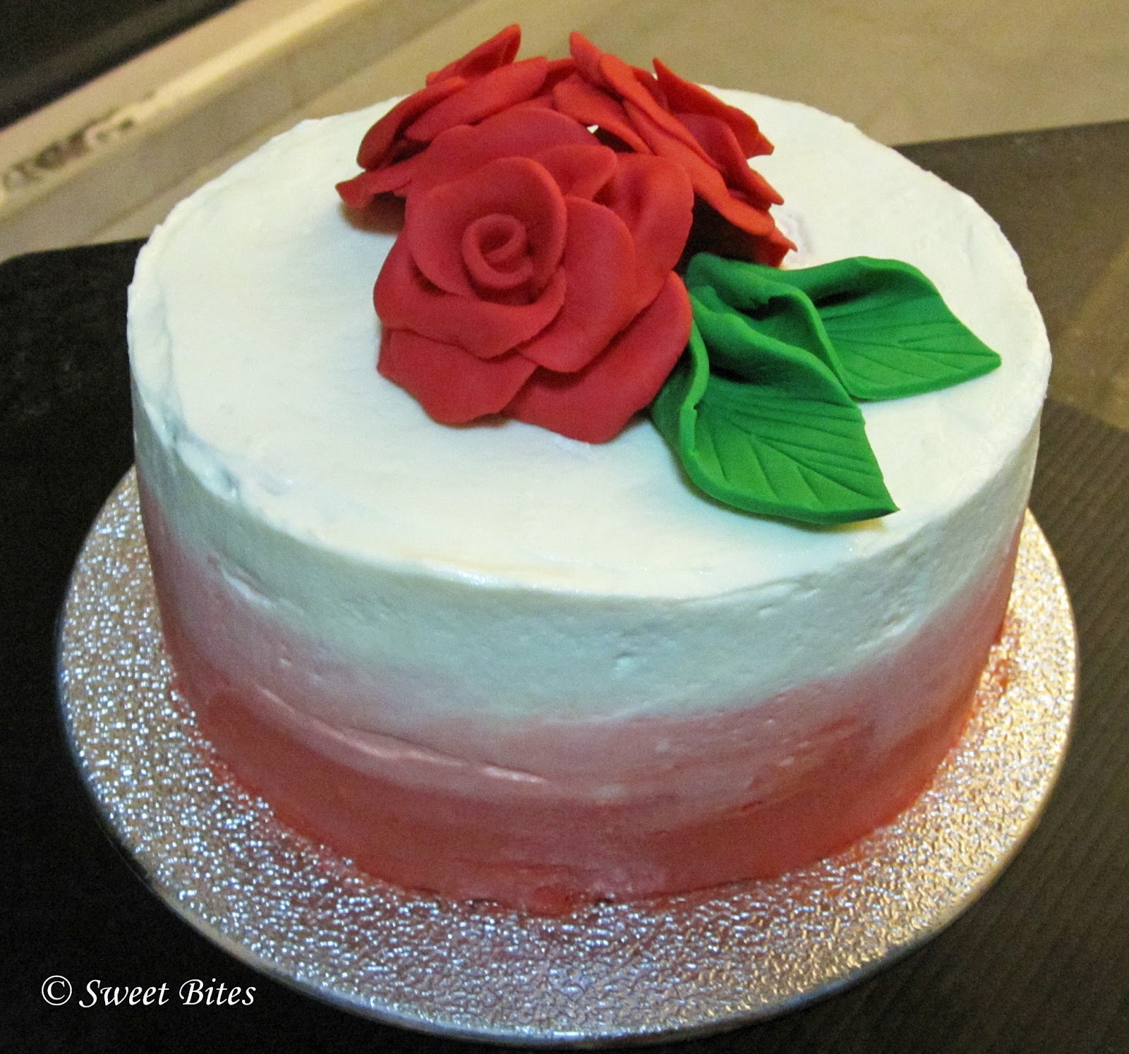Sweet Bites: Red Velvet Cake with Fondant Rose