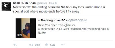 Shah rukh khan had never shown end of kal ho na ho movie to his kids