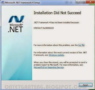 Solusi Gagal Instal .Net Framework 4.0 di Windows 7