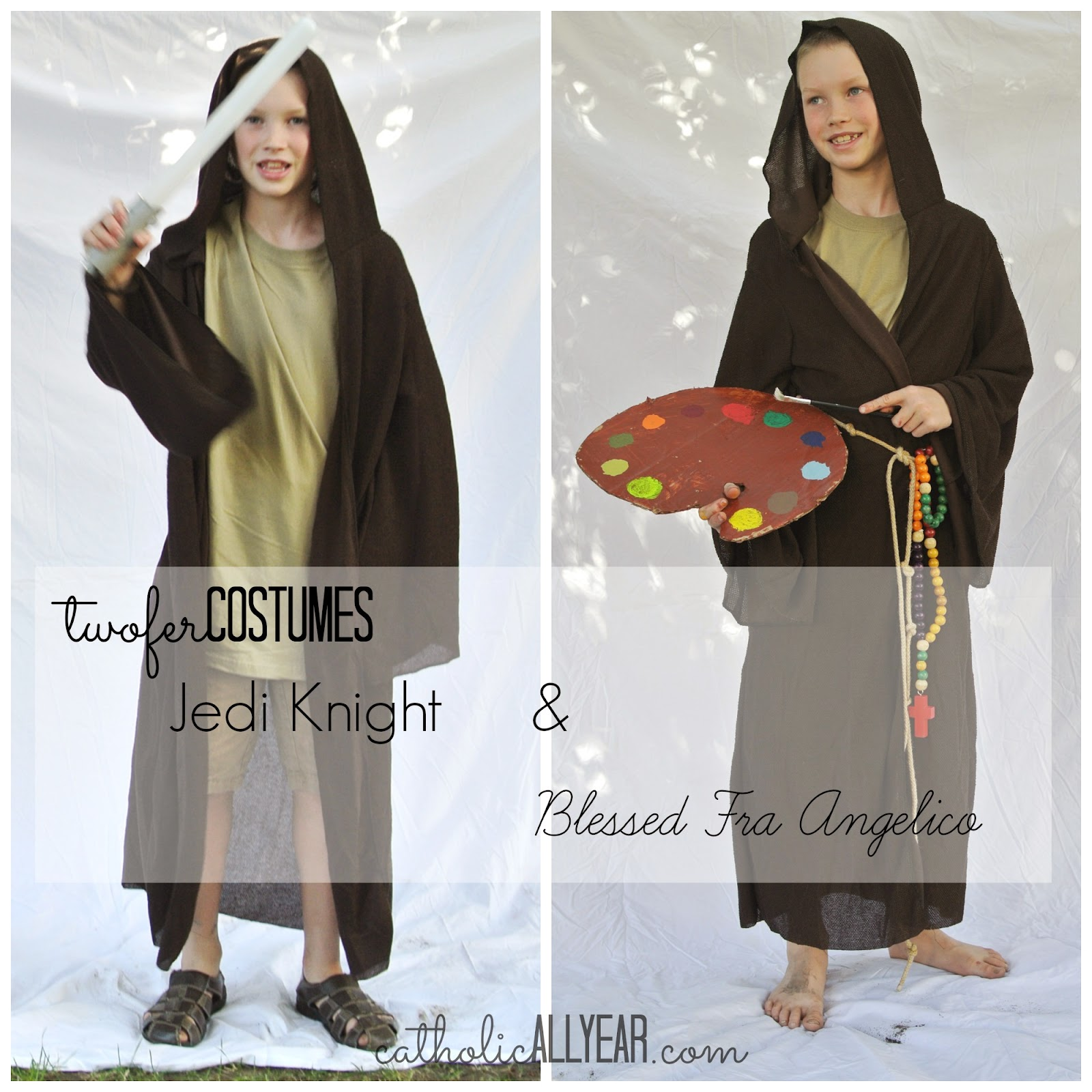 Catholic all year last minute twofer costumes for halloween and all the basis of this costume is the hooded jedi robe solutioingenieria Choice Image