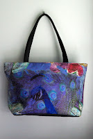 turquoise blue and purple printed handbag