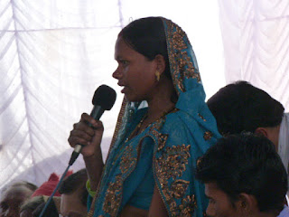 Anita Narre addressing villagers - Photo: courtesy Sanitation Updates