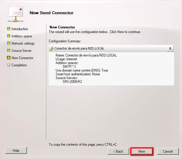 Apartado configuration summary del asistente conector de envío.