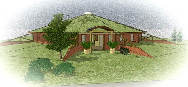 Визуализация. План. Круглый соломенный дом из Колорадо, США.