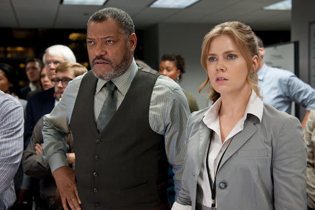 Man of Steel LAURENCE FISHBURNE as Perry White and AMY ADAMS as Lois Lane