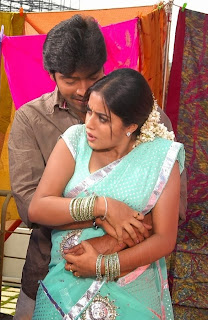 Actress Poorna Boobs Press While Romance in Saree Blouse