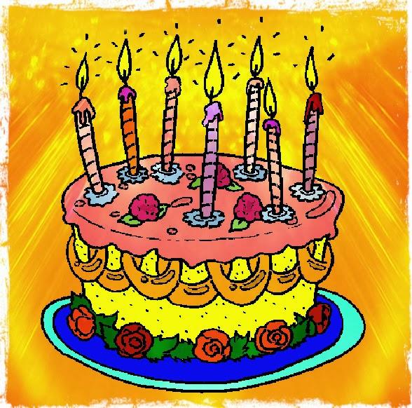 Bunte Torte mit sieben Kerzen