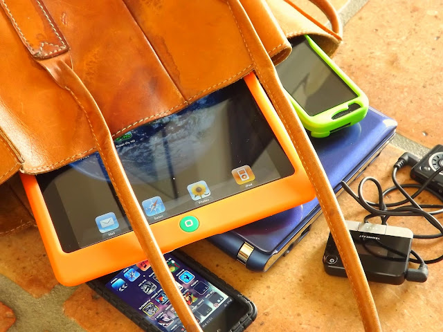 bag full of electronic gadgets