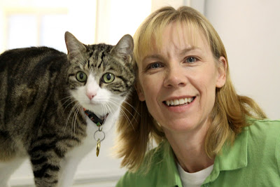 George the Cat and his new owner Vickie Edwards
