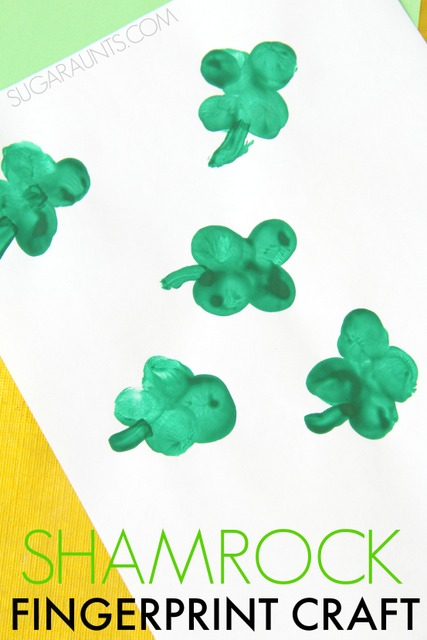St. Patrick's Day shamrock art using thumbprints! Fingerprint art with kids is the cutest!