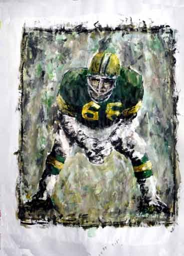 Green Bay Packers Ray Nitschke Football Painting