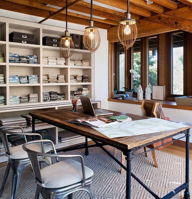 espacio de trabajo rustico industrial -mesa de escritorio de madera y hierro