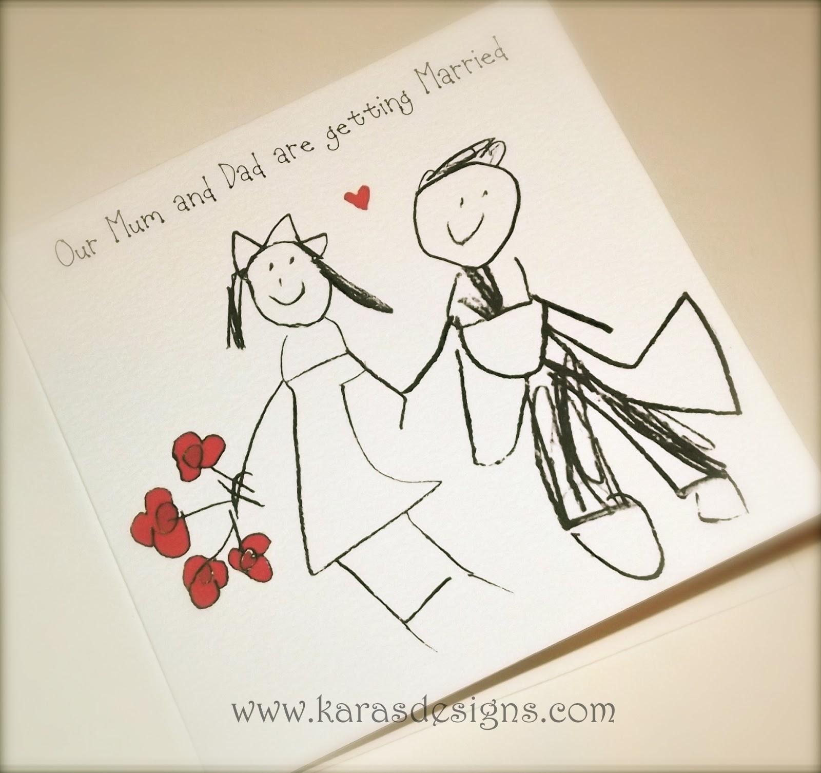 Wwwkarasdesignscom kids drawn wedding invites for Kid free wedding invitations