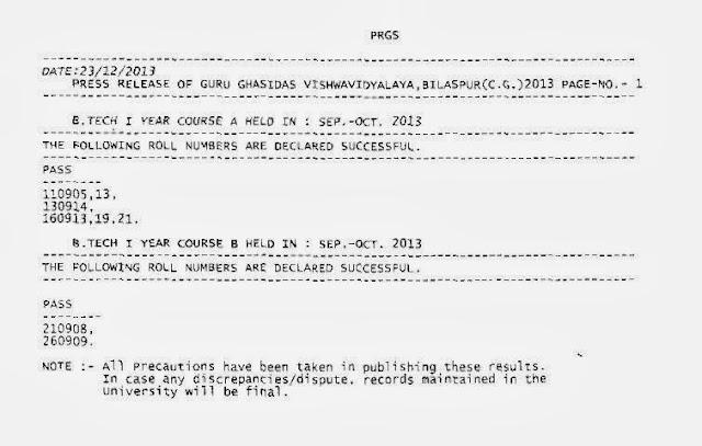 GGV Dec 2013 Result Online