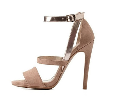 Qupid nude and metallic strappy high heeled sandals