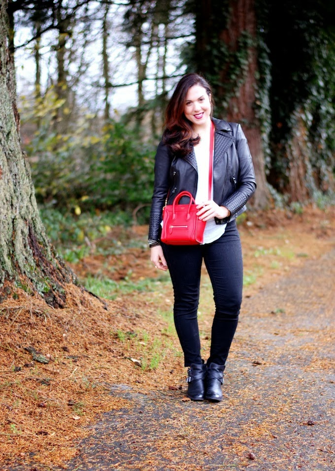 Zara studded leather jacket and Celine Nano luggage
