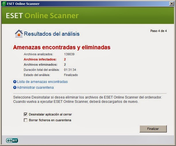 Eliminar amenazas con ESET Nod32 OnLine