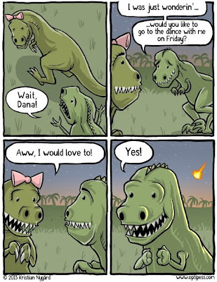 dinosaurs going on a date before extinction funny cartoon
