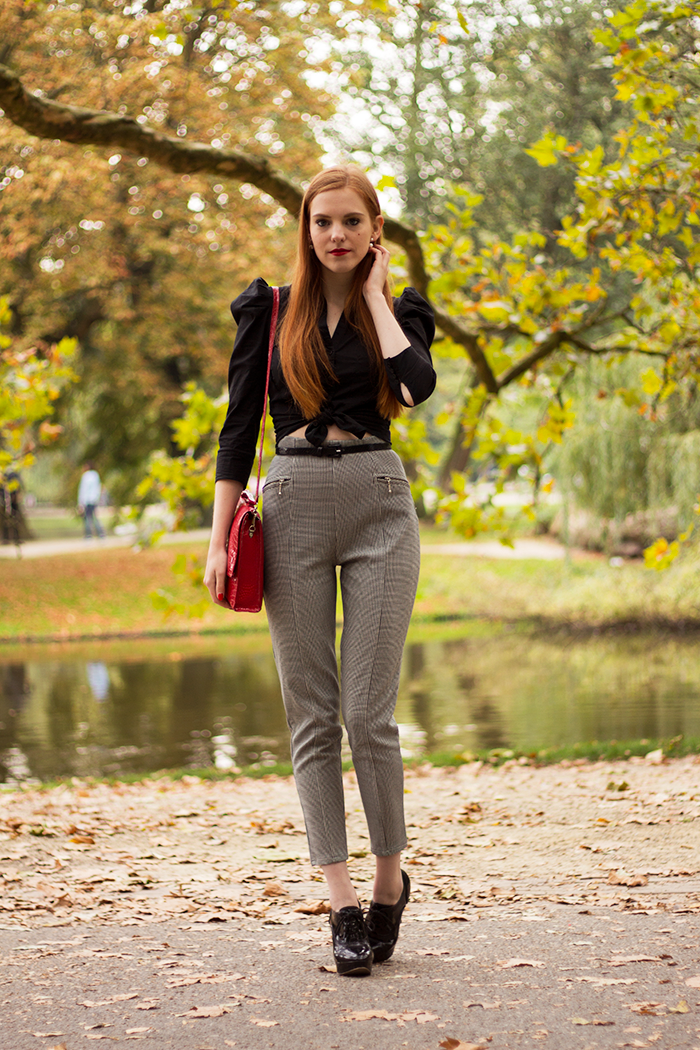 Fall outfit with houndstooth pied de poule pants and cropped blouse