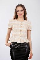 Bluza peplum din tafta creponata, cu maneca scurta CR031VG (Ama Fashion)