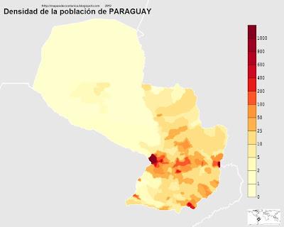Densidad poblacional del Paraguay (personas por km2) (mapa grande)