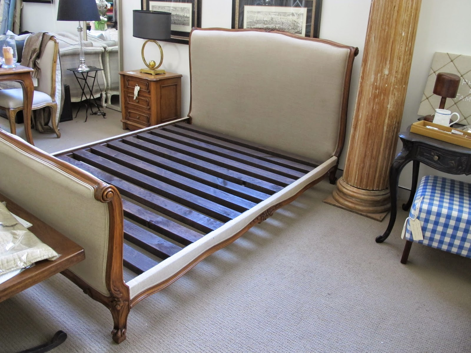 Bedhead Designs complete sleigh bed with slats can be upholstered in any fabric.