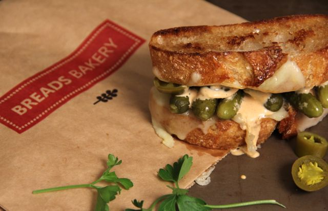 Manchego, Cornichon, and Pickled Jalapeno Grilled Cheese with Chipotle Mayo