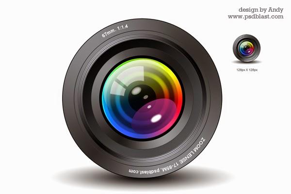 Camera Lens PSD Icon