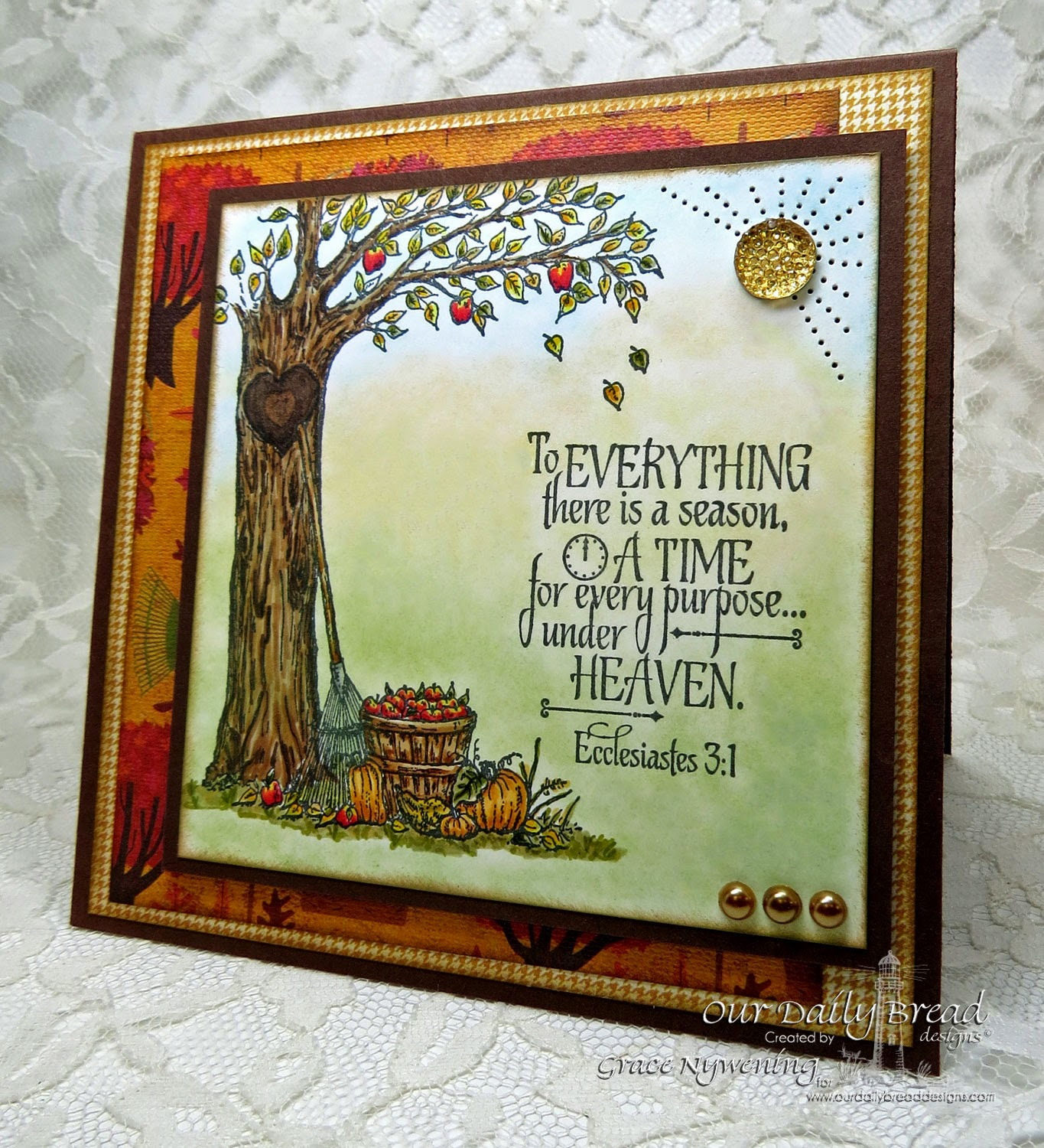 ODBD stamps: Autumn Tree, God's Timing, designed by Grace Nywening