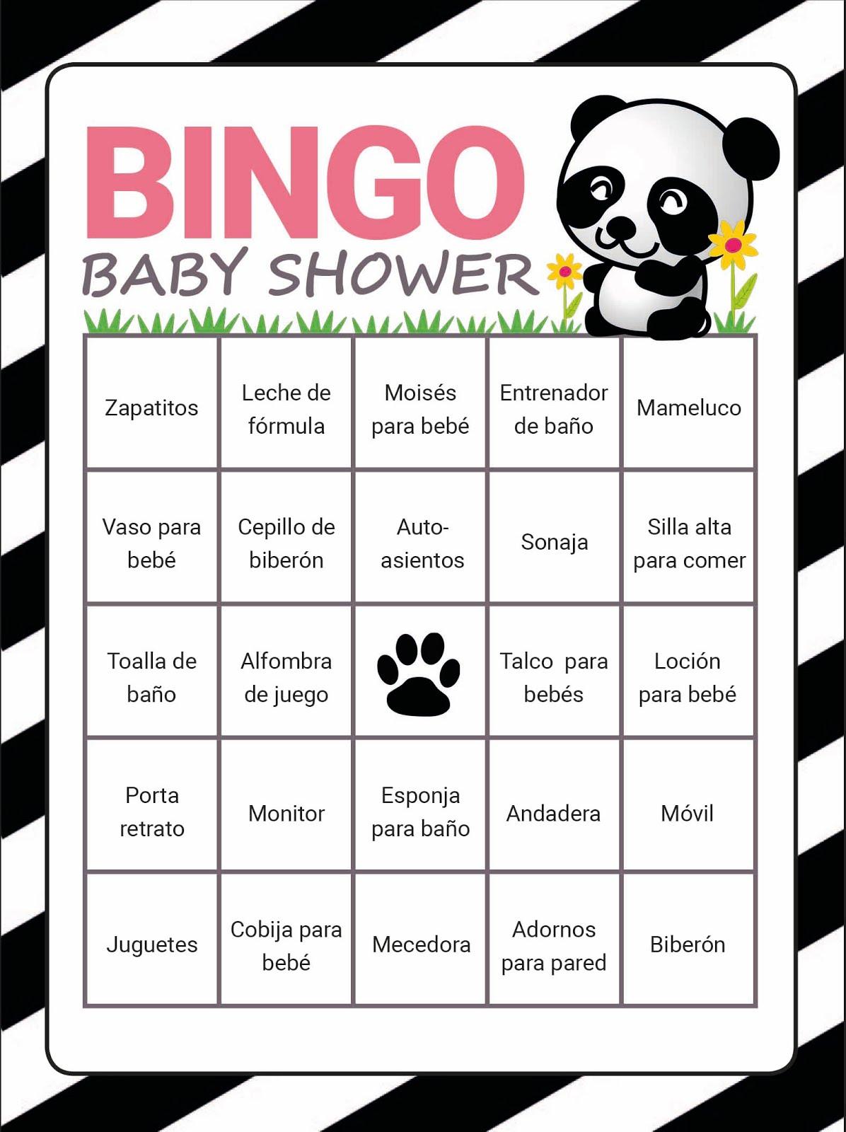 ¡Bingo para Baby shower!