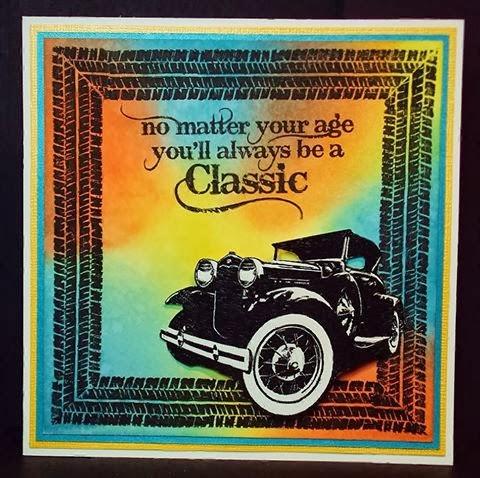 Masculine card vintage car tyre marks stamp