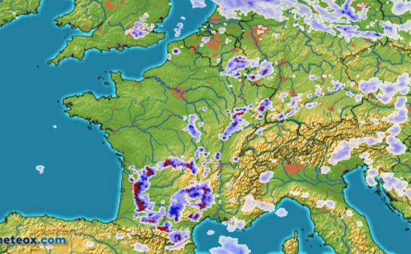Carte des orages sur la France