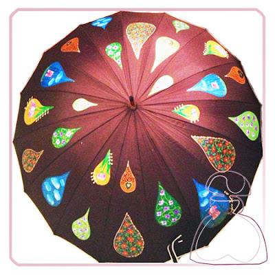 Paraguas modelo Gotas pintado a mano de El Jardín del Edén por Sylvia Lopez Morant.