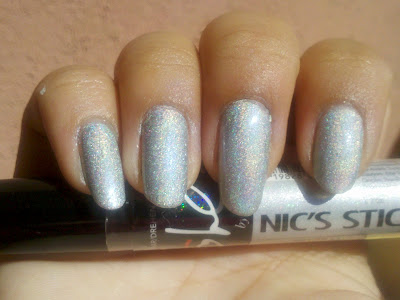 nicole by opi's silver holografic nail polish