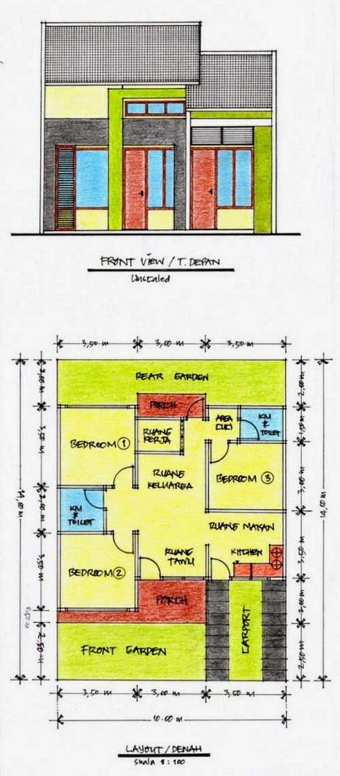 bentuk denah rumah 10x15 yang bagus