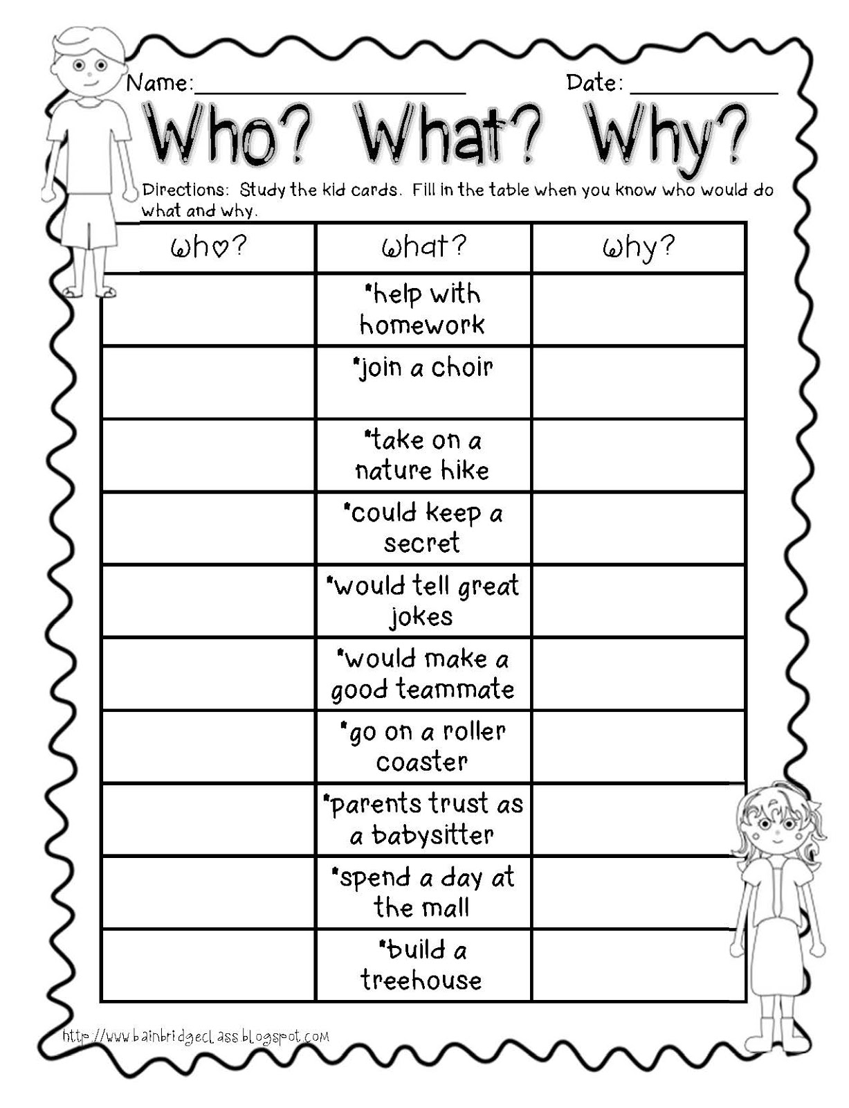 First Week of School and Character Traits Activities ...