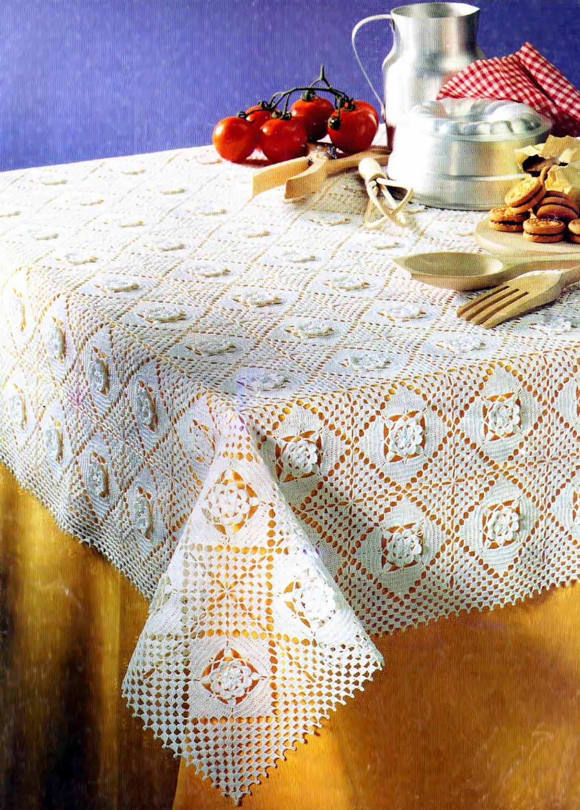 Tejidos artesanales en crochet mantel con cuadrados - Mantel de crochet ...