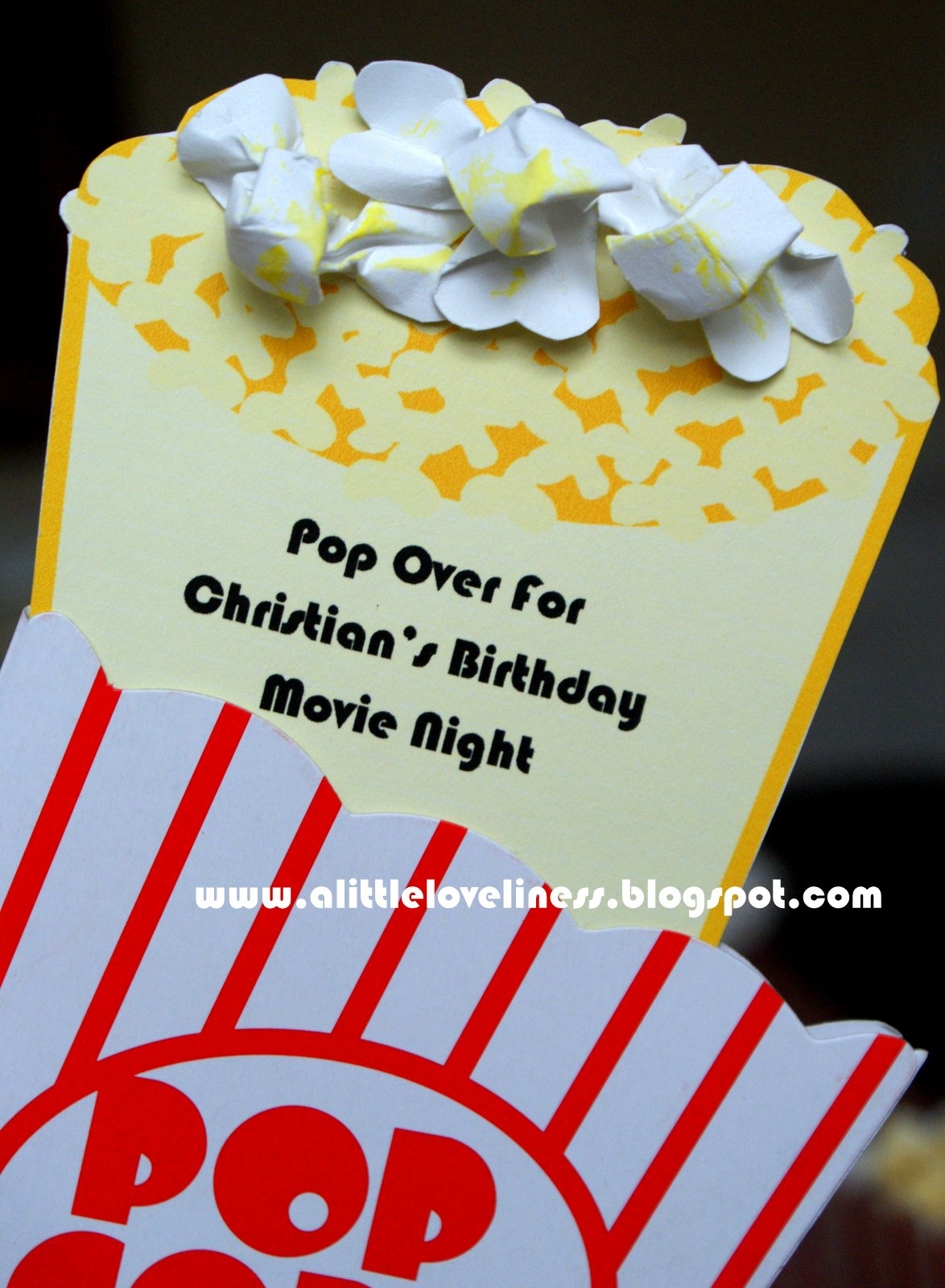 A little loveliness popcorn movie party invitation tutorial we ultimately decided to host the party at home which was a much more economical choice an invitation slipped into a popcorn box card encouraged guests to filmwisefo