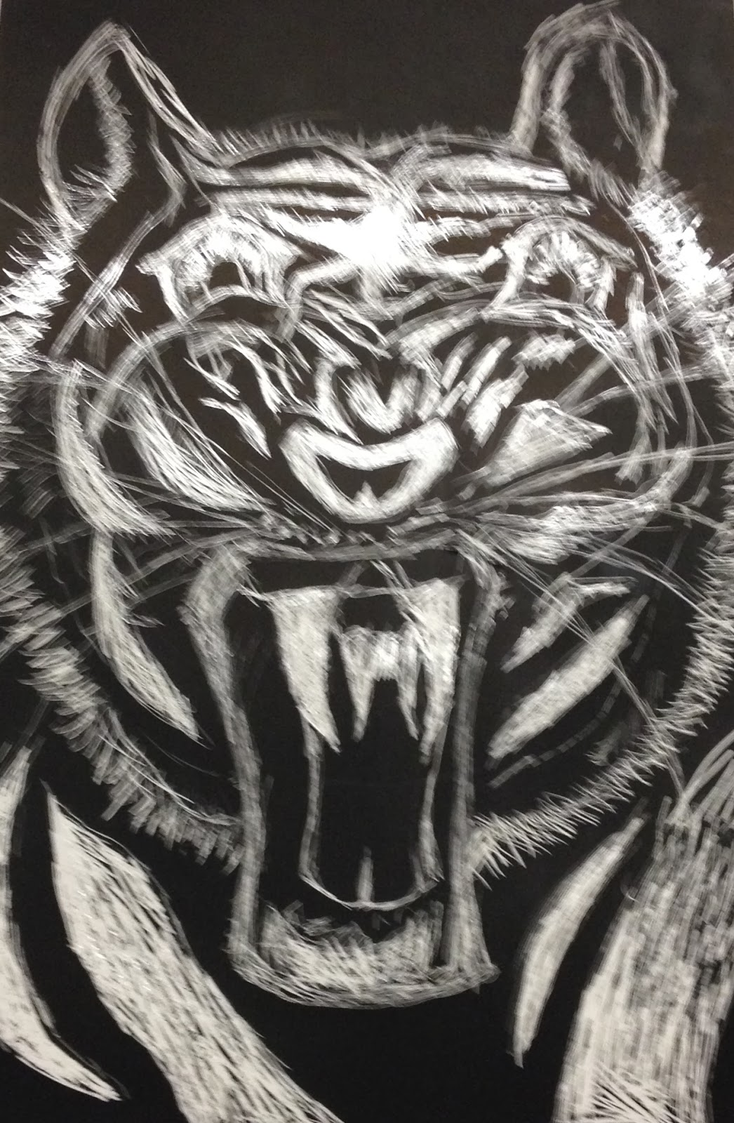 Students Each Chose An Animal Of Interest To Create On The Scratch Art Board Experimented With Hatching Stippling And Cross Techniques