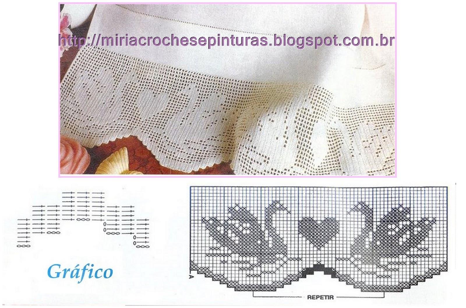 Barrados de crochê com gráficos com motivos de cisnes. http