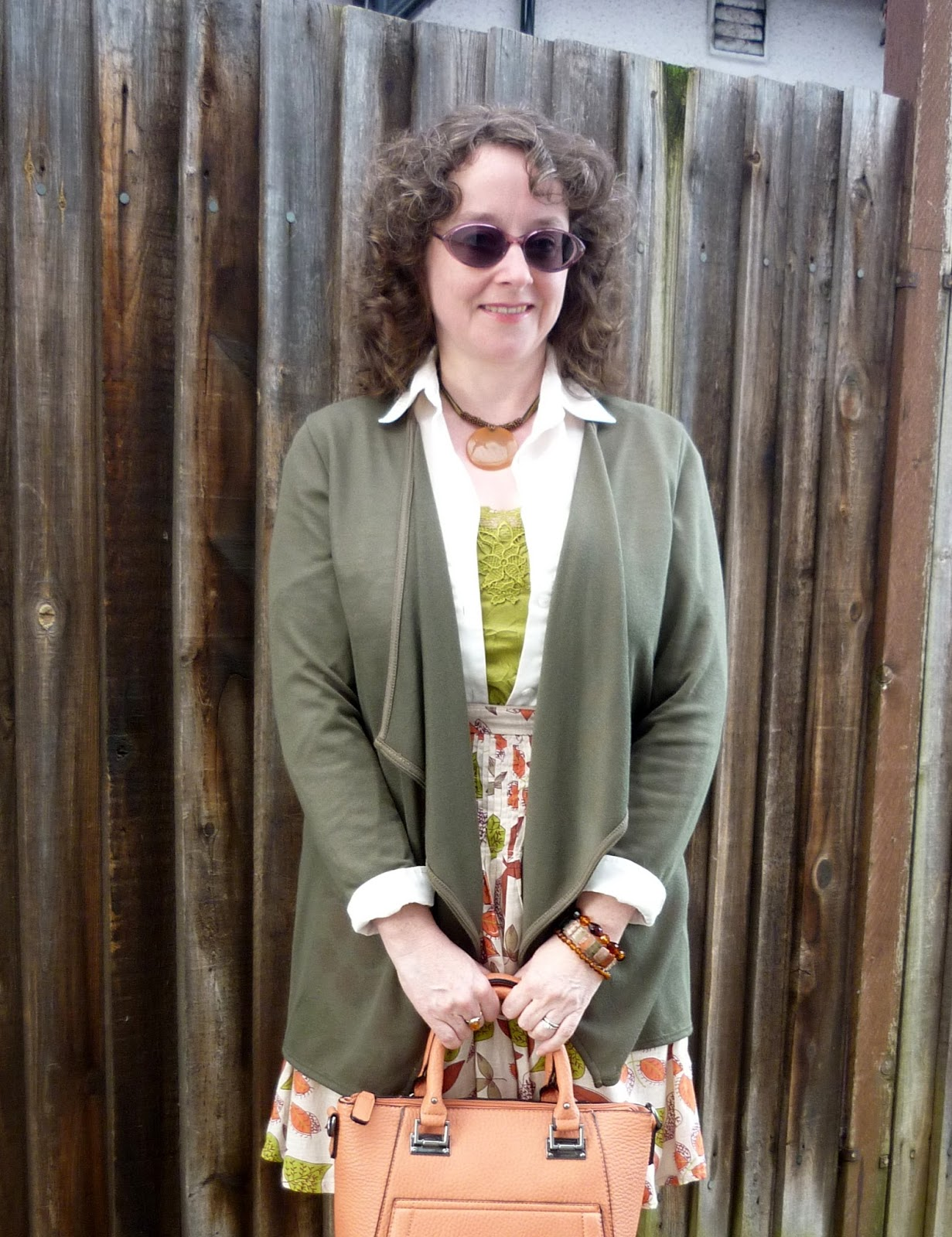 Olive Waterfall Cardigan, Pistachio Cami, Shirt, Pumpkin Tote, Leaf Patterned Skirt | Petite Silver Vixen