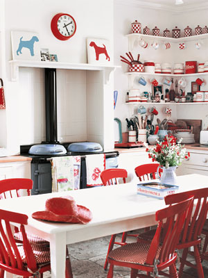 Red And White Country Kitchen - Home Decorating Ideas