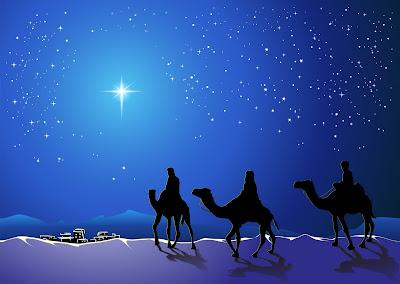 Ilustración de los Reyes Magos con la Estrella de Belém