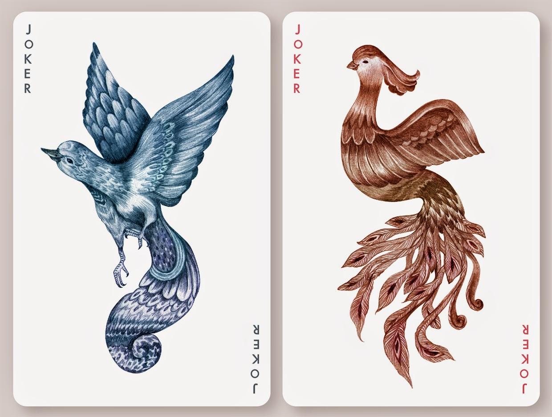 孔雀にフクロウ、白鳥にペンギン…緻密な鳥のイラストのトランプカード