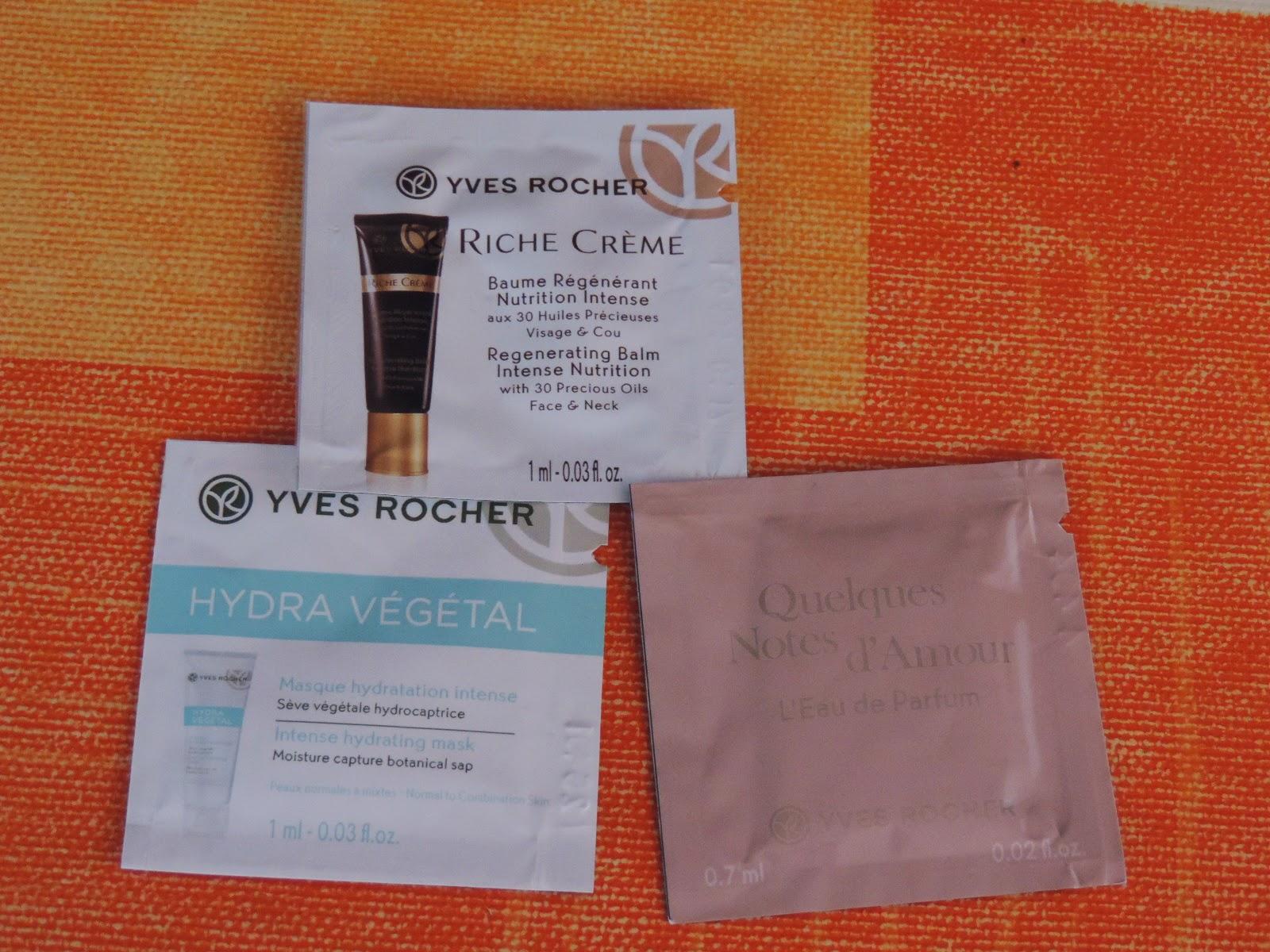 Muestras regalo pedido Yves Rocher